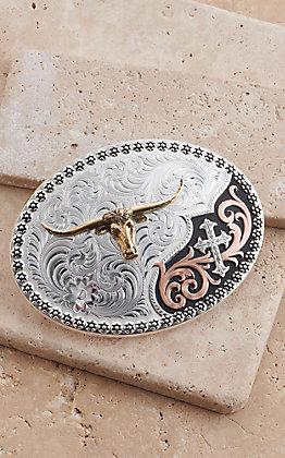 Montana Silversmiths Tri-Color Always in Faith Buckle with Longhorn Buckle