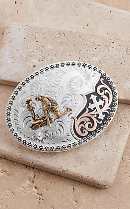 Montana Silversmiths Tri-Color Always in Faith Buckle with Kneeling Soldier