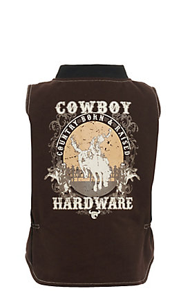 Cowboy Hardware Boys' Brown Country Born & Raised Canvas Vest