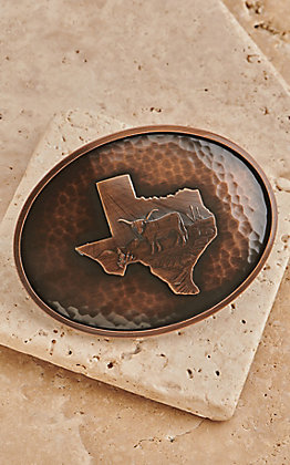 Montana Silversmiths River Rock Medium Oval Texas State Map Buckle