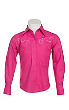 09 Apparel Girl's Hot Pink with Rhinestone Scrolling Long Sleeve Western Shirt