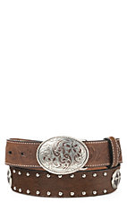3D Belt Company Childrens Brown Hair with Cross Conchos Belt