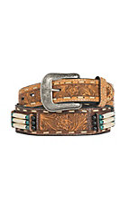 3D Belt Company Men's Brown with Bone Details and Floral Embossed Belt