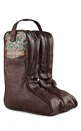 3D Belt CO Brown And Turquoise Boot Bag