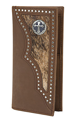 3-D Brown Hair on Calf Wallet / Checkbook Cover 3DW943