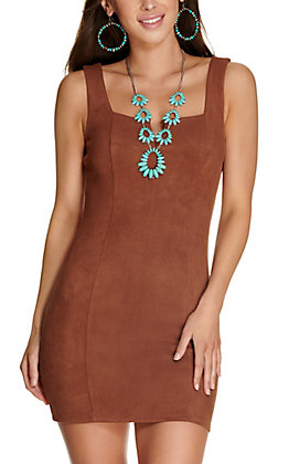 Max + Ash Women's Brown Faux Suede V-Neck Sleeveless Dress
