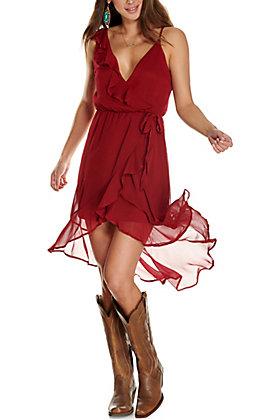 Max + Ash Women's Wine with Ruffles Asymmetrical Hem Sleeveless Dress