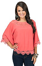 Origami Women's Coral with Crochet Trim Poncho Top