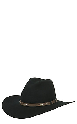 Rodeo King 3X Tracker Black Banded Long Oval Wool Cowboy Hat