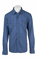 Garth Brooks Sevens by Cinch Men's Blue, Black, and White Square Print Long Sleeve Western Snap Shirt