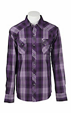 Garth Brooks Sevens by Cinch Men's Purple, White, and Black Plaid Long Sleeve Western Shirt