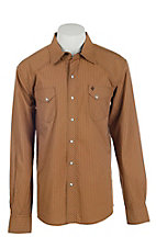 Garth Brooks Sevens by Cinch Men's Khaki Striped Long Sleeve Western Snap Shirt
