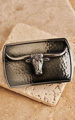 Montana Silversmiths River Rock Medium Rectangle Longhorn Buckle