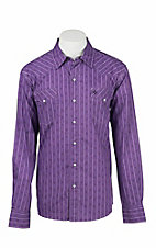 Garth Brooks Sevens by Cinch Men's Purple, White, and Black Stripe Long Sleeve Western Snap Shirt
