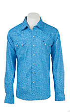 Garth Brooks Sevens by Cinch Men's Blue Digital Paisley Print Long Sleeve Western Snap Shirt