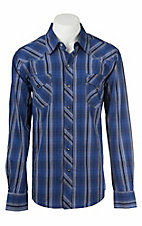 Garth Brooks Sevens by Cinch Men's Blue and White Plaid Long Sleeve Western Shirt