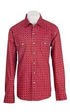 Garth Brooks Sevens by Cinch Men's Red and White Print Long Sleeve Western Snap Shirt