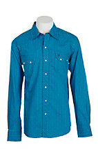 Garth Brooks Sevens by Cinch Men's Blue Striped Long Sleeve Western Snap Shirt
