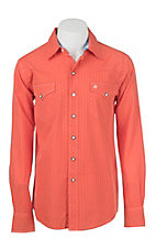 Garth Brooks Sevens by Cinch Men's Orange Pin Striped Long Sleeve Western Snap Shirt