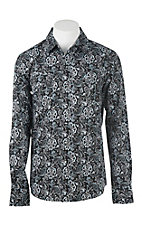 Garth Brooks Sevens by Cinch Men's Black and Grey Paisley Print L/S Western Snap Shirt