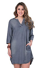 Renee C. Women's Denim with 3/4 Sleeves Shift Dress