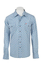 Garth Brooks Sevens by Cinch Men's Blue and Orange Print Long Sleeve Western Snap Shirt