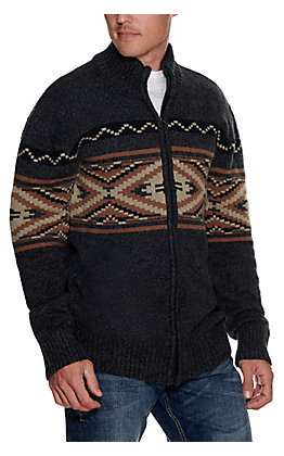 Stetson Men's Grey with Tan Aztec Design Long Sleeve Zip Up Sweater Jacket