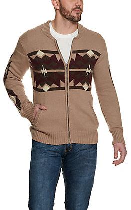 Stetson Men's Brown Aztec Pattern Long Sleeve Zip Cardigan