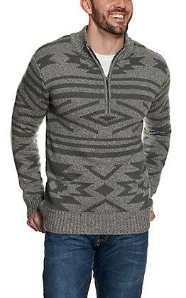 Stetson Men's Grey Aztec Quarter Zip Sweater