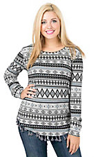 Outback Trading Company Women's Dakota Grey Aztec with Tassel Trim Long Sleeve Fashion Top
