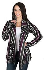 Outback Trading Company Women's Purple & White Aztec with Fringe Jacket