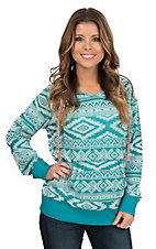Outback Trading Company Women's Turquoise Aztec Bohemian V Neck Long Sleeve Hoodie