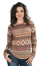 Outback Trading Company Women's Tribal Print Long Sleeve Casual Knit Top