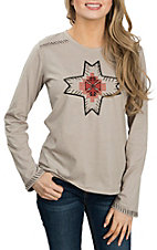 Outback Trading Company Women's Putty Legend w/ Embroidery Long Sleeve Casual Knit Shirt