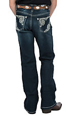 Cowgirl Hardware Girls Dark Wash Lace Pocket Boot Cut Jeans