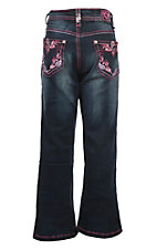 Cowgirl Hardware Girls Dark Wash Pink Vine Paisley Boot Cut Jeans