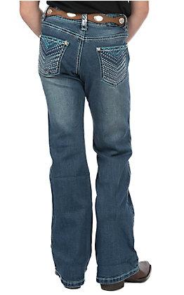 Cowgirl Hardware Girls Youth Medium Wash Blue Chevron Boot Cut Jeans