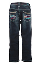 Cowgirl Hardware Girls Dark Wash Bright Aztec Boot Cut Jeans