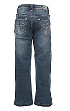Cowgirl Hardware Girls Medium Wash Swirl Cross with Rhinestones Boot Cut Jeans