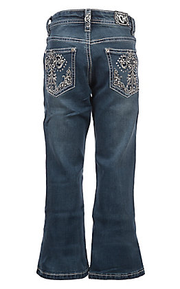 Cowgirl Hardware Girls Medium Wash Embroidered Cross with Rhinestones Boot Cut Jeans