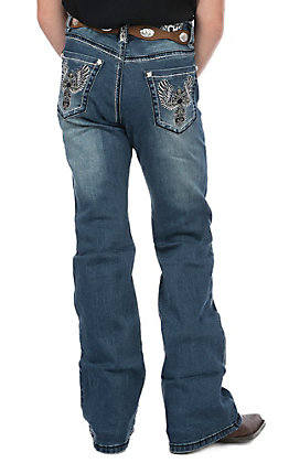 Cowgirl Hardware Girls Youth Medium Wash Embroidered Cross with Rhinestones Boot Cut Jeans
