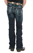 Cowgirl Hardware Girls Dark Wash Barbwire Boot Cut Jeans