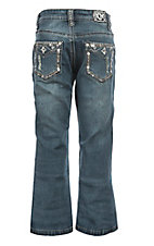 Cowgirl Hardware Girls Medium Wash Faux Flap Star Boot Cut Jeans