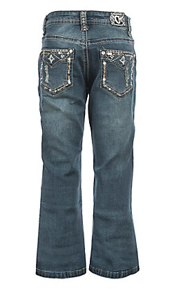 Cowgirl Hardware Girls Medium Wash Faux Flap Star Boot Cut Jeans
