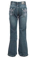 Cowgirl Hardware Youth Medium Wash Steel Cross Pocket Boot Cut Jeans