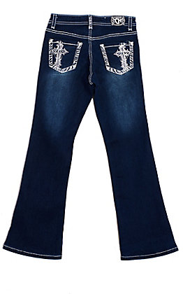 Cowgirl Hardware Girls' Dark Wash Zebra Cross Embroidered Crystal Boot Cut Jeans