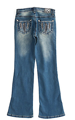 Cowgirl Hardware Girls Silver Feathers Medium Wash Bootcut Jeans