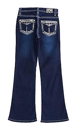Cowgirl Hardware Girls Sequin Flap Pockets Dark Wash Bootcut Jeans