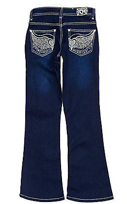 Cowgirl Hardware Girls' Dark Wash Winged Heart Embroidered Crystal Boot Cut Jeans