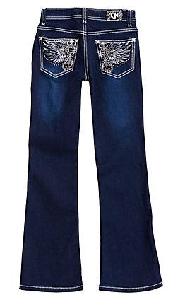 Cowgirl Hardware Girls' Dark Wash Winged Cross Boot Cut Jeans